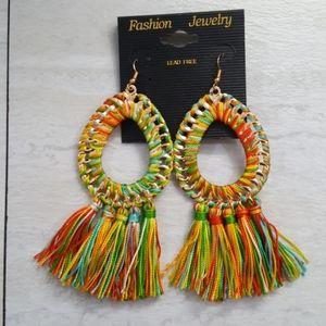 (NWOT) Beautiful Multi-Color Fringe Boho Earrings